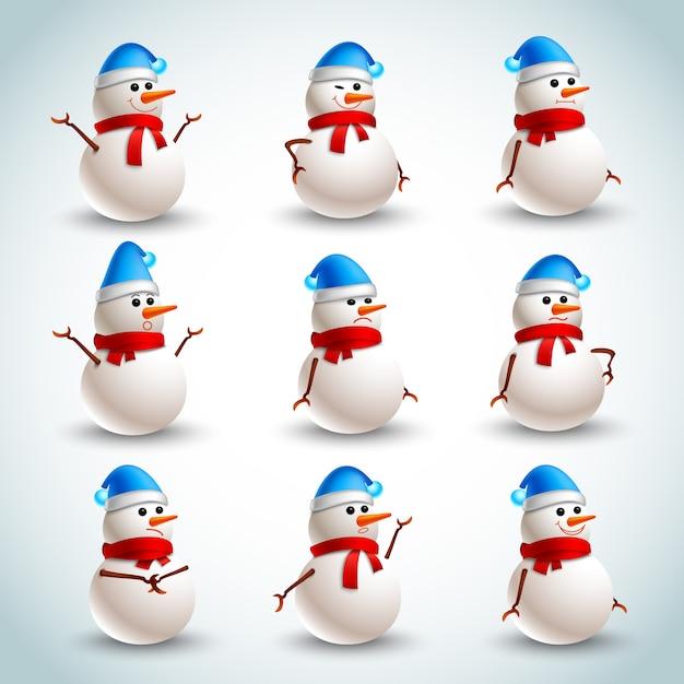 Snowman emotions set Free Vector