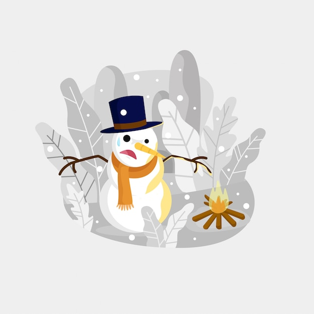 Snowman next to a fire illustration Premium Vector