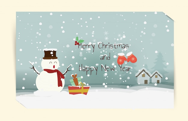 Snowman Happy Holidays Warm Wishes Hand Drawn Card Merry Christmas