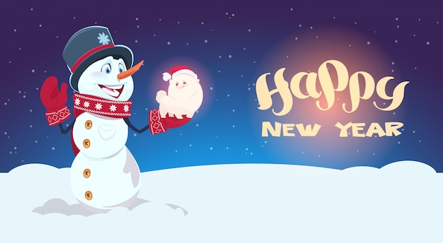 Snowman hold cute dog symbol of new year decoration holiday greeting card Premium Vector