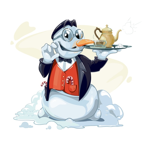 The snowman holds in hand a tray with a teapot Premium Vector