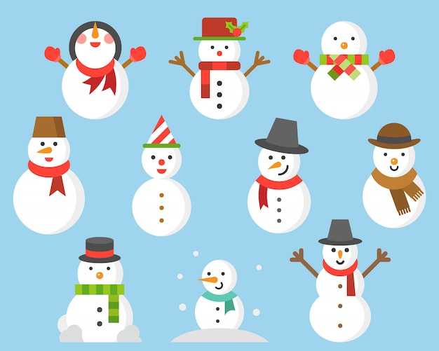 Snowman icon for winter and christmas Premium Vector