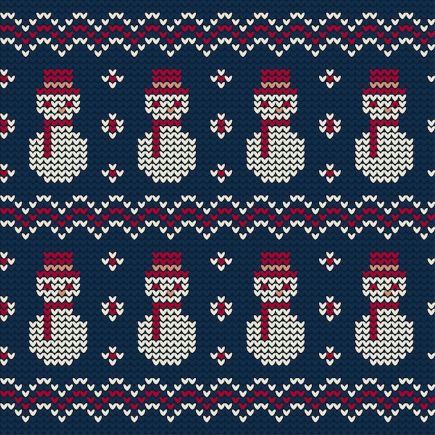 Snowman knitted pattern of christmas Free Vector