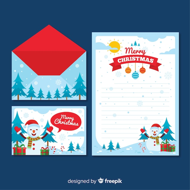 Snowman Landscape Christmas Letter Template Vector Free Download