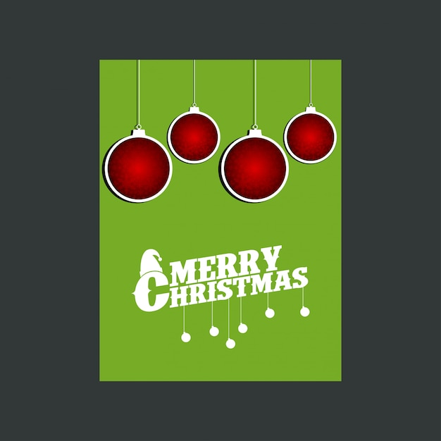 Snowman merry christmas green background Free Vector