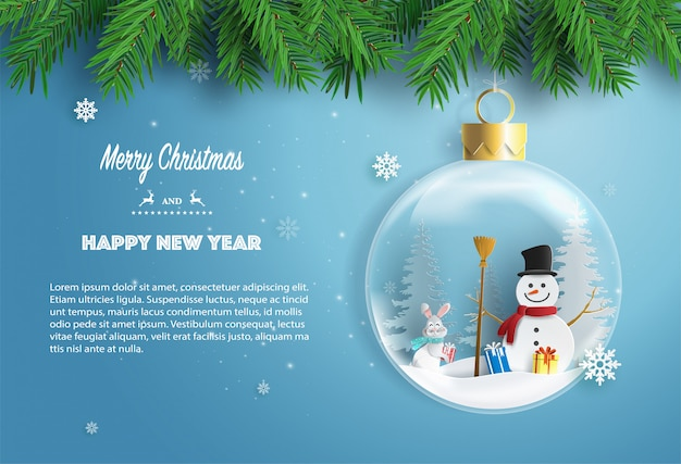 Snowman and rabbit standing in xmas ball with gift boxes. Premium Vector