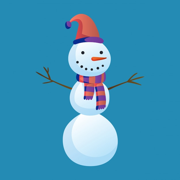 Snowman raising hands with top hat and scarf isolated. winter theme. Premium Vector