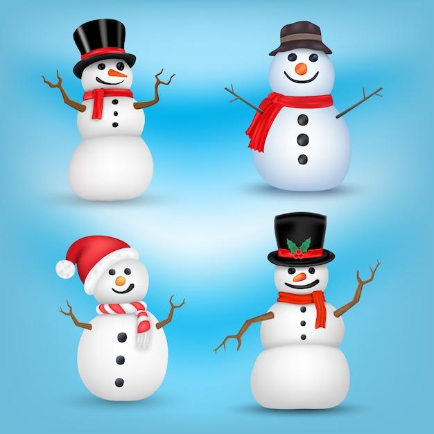 Snowman set on different positions Premium Vector