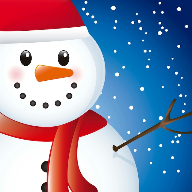 Snowman over sky with snow close up vector illustration Premium Vector