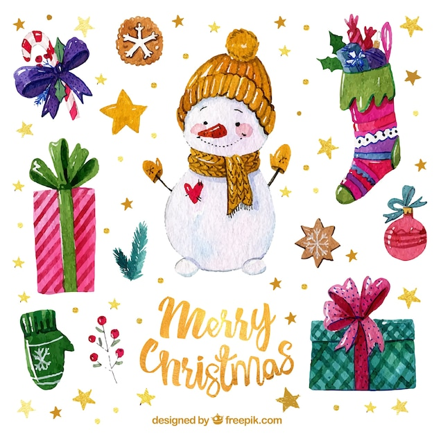 Snowman and watercolor christmas elements Free Vector