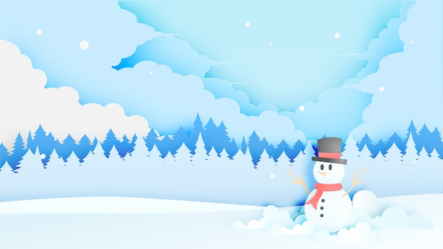 Snowman and winter landscape with paper art style and pastel color scheme Premium Vector