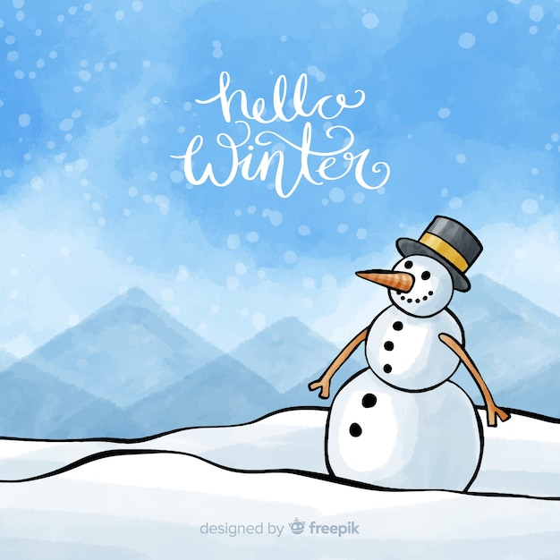 Snowman winter watercolor background Free Vector