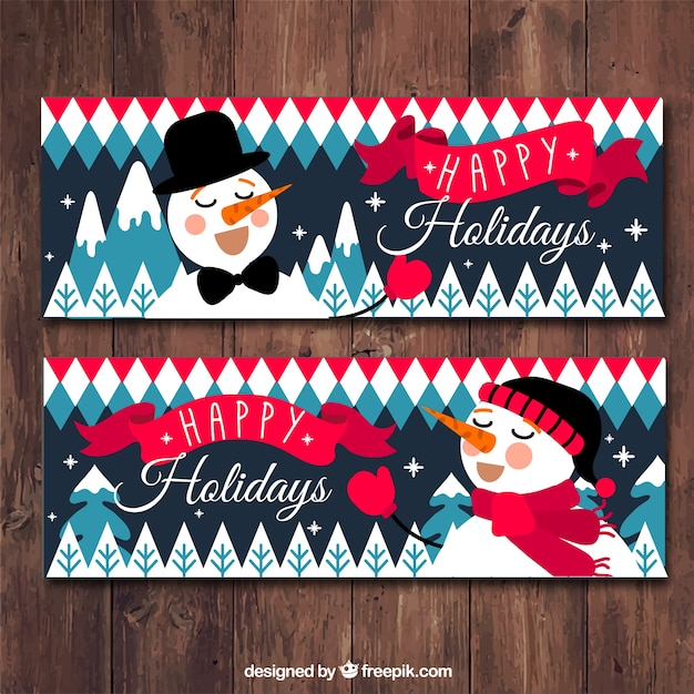Snowman wish you a happy holidays banner