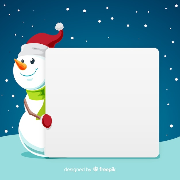 Snowman with blank sign Free Vector