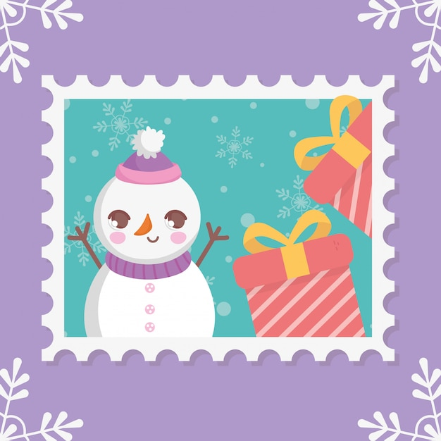 Snowman with gift boxes merry christmas stamp Premium Vector