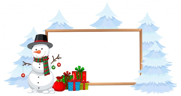 Snowman with holiday frame Free Vector