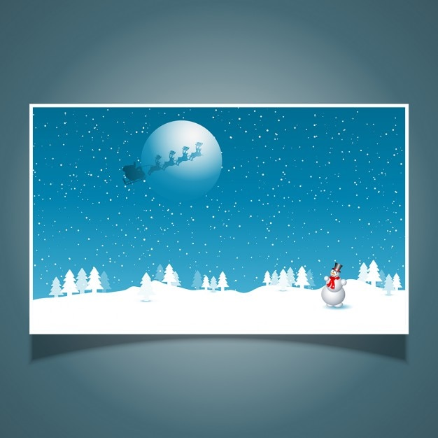 Snowman with santa in the sky