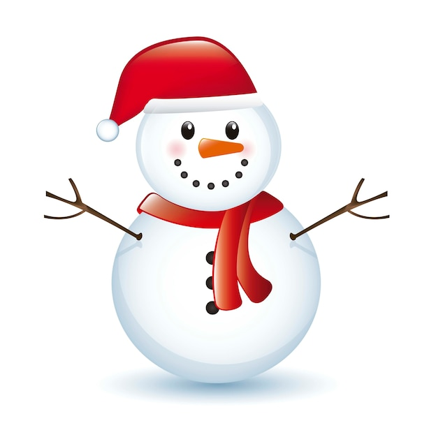 Snowman with shadow isolated over white background vector Premium Vector