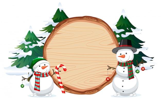 A snowman on wooden banner Premium Vector