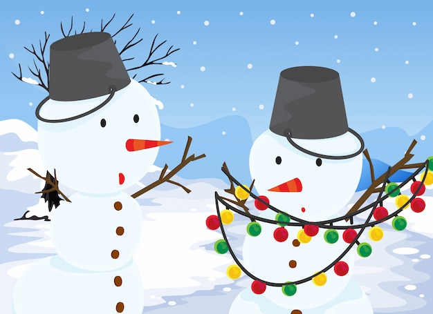 Snowmen Free Vector