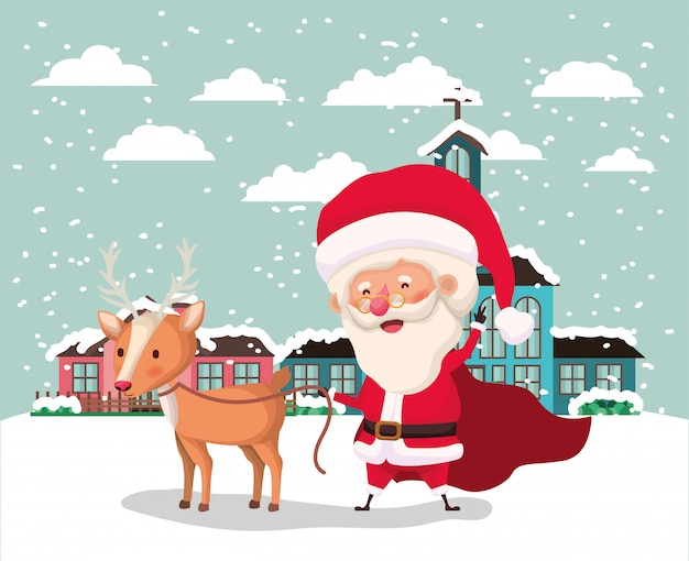 Snowscape with cute house and santa claus scene Free Vector