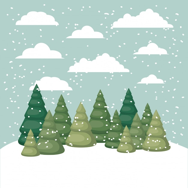 Snowscape with pines forest scene Premium Vector