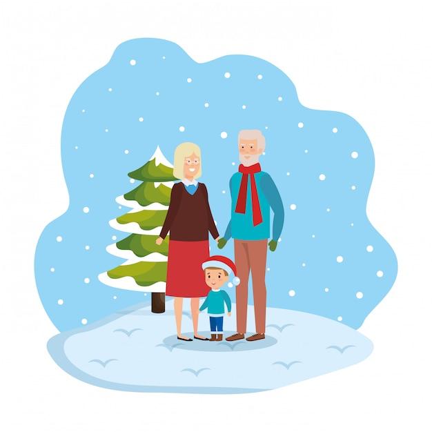 Пара бабушек и дедушек с внуком в snowscape Premium векторы