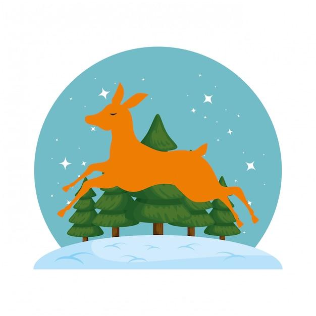Симпатичный силуэт рождественского оленя с snowscape Premium векторы