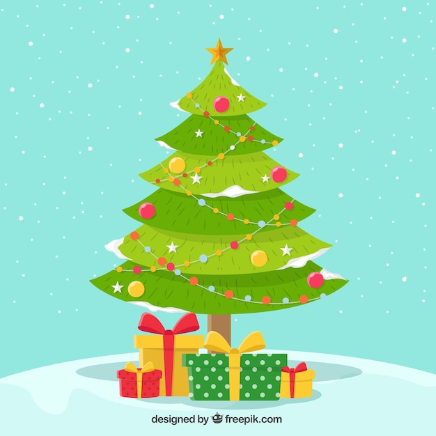 Snowy background of pretty christmas tree with gifts Free Vector