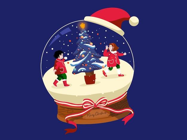 その中で遊んでいる子供たちと雪に覆われたクリスマスボール Premiumベクター