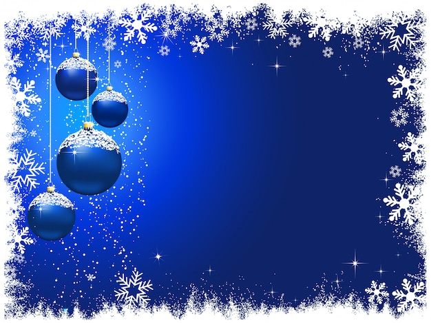 Snowy christmas baubles background Free Vector