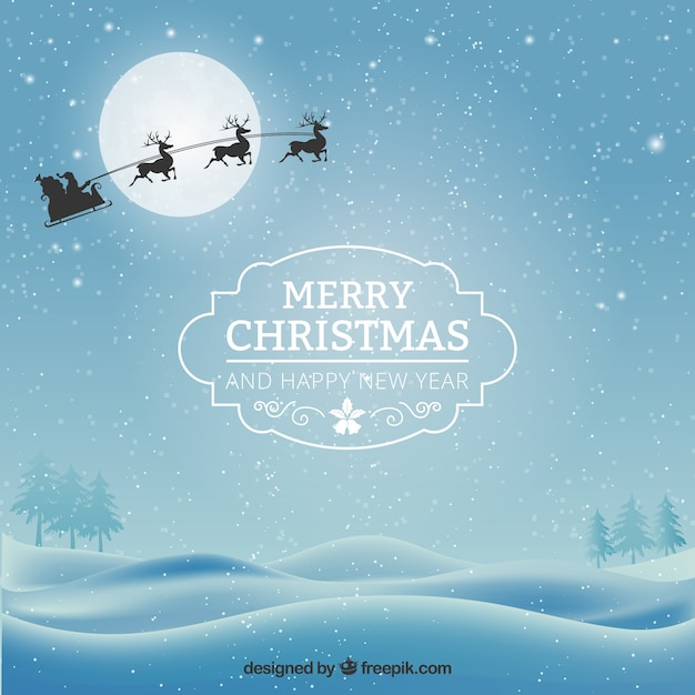 Nice Snowy Christmas Card Free Vector