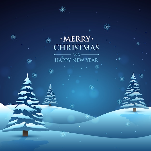 Snowy christmas landscape background vector free download for Christmas landscape images