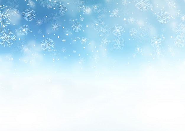 Snowy Christmas landscape Free Vector