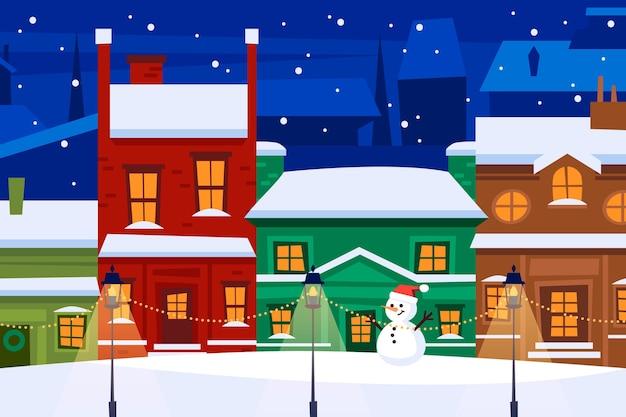 Снежный рождественский городок ночью Premium векторы