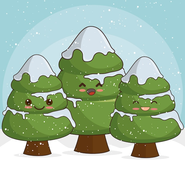 Snowy christmas trees in snow Free Vector