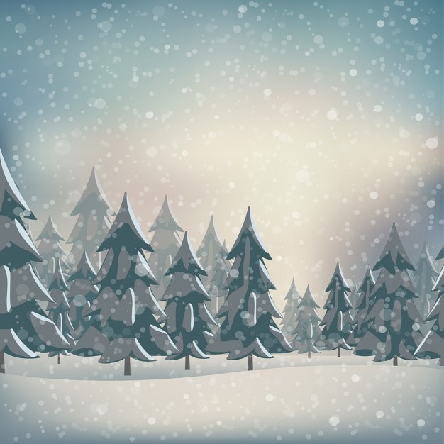 A snowy forest Free Vector