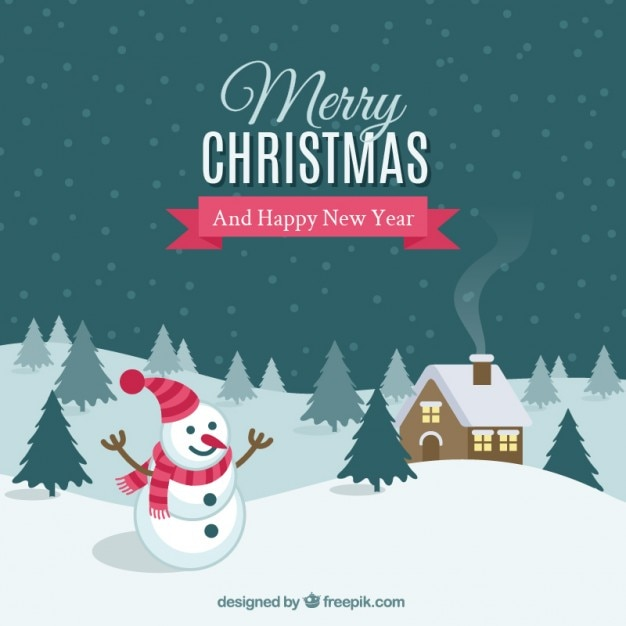 Snowy landscape background with a\ snowman
