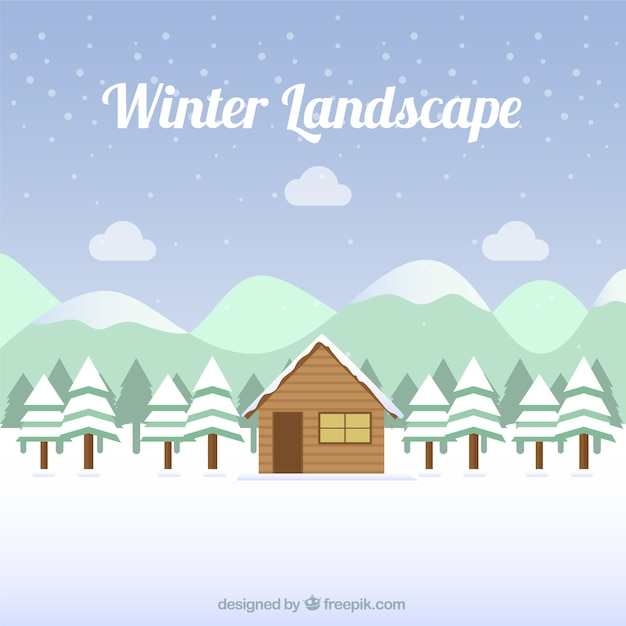 Snowy landscape background with cabin and\ pines
