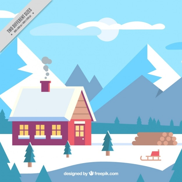 Snowy Landscape Background With Cute House In Flat Design