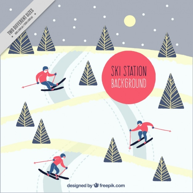 Snowy landscape background with people\ skiing