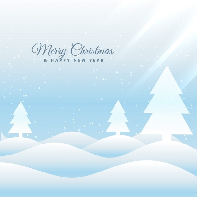 Snowy landscape christmas background with\ pines