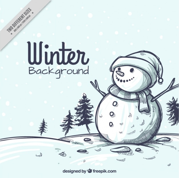 Snowy landscape christmas sketch background with snowman Free Vector