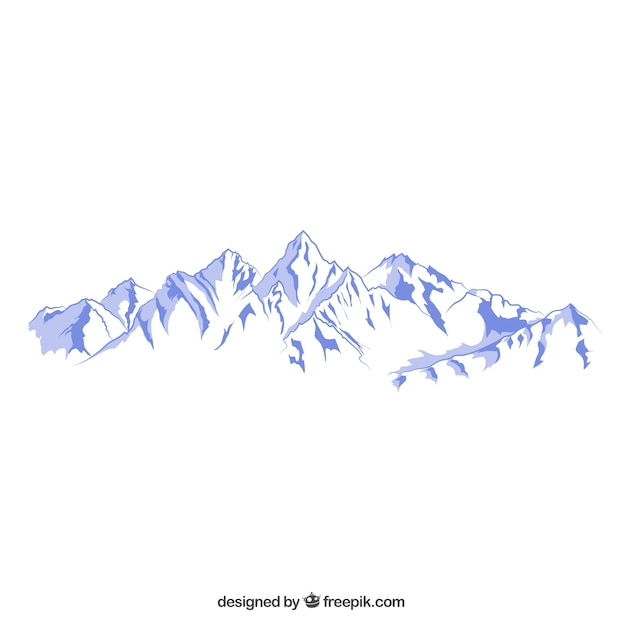 Snowy mountains illustration Free Vector
