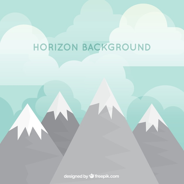 Snowy mountains landscape background in flat\ design