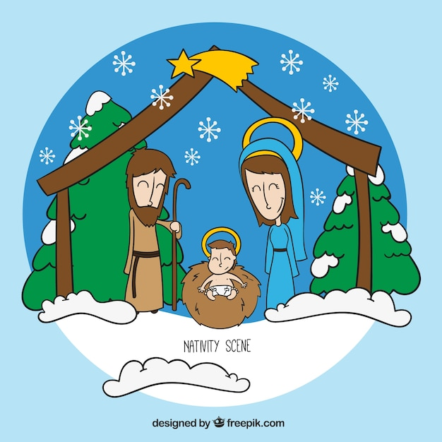 Snowy nativity scene illustration