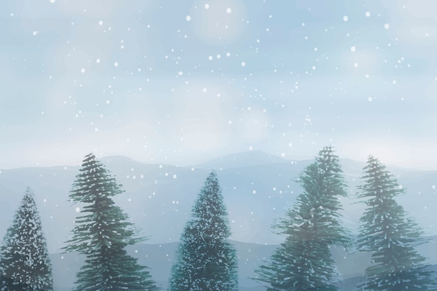Snowy pine tree, winter forest over sky background Free Vector