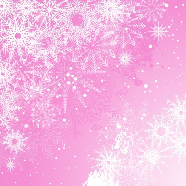 Snowy pink christmas background Free Vector