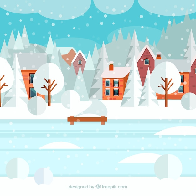 Snowy village with an iced lake\ illustration