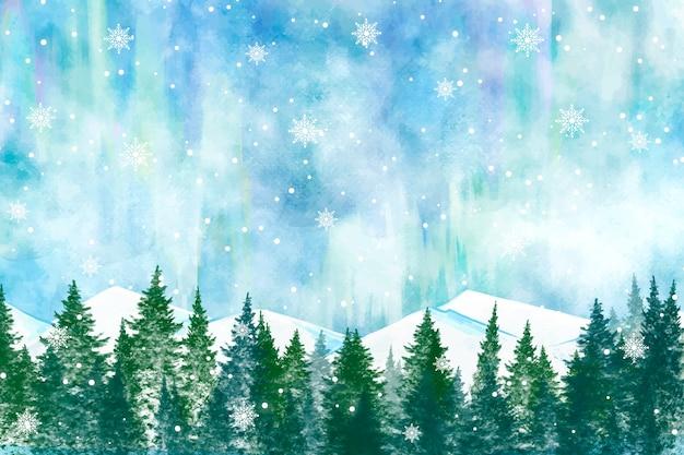 Snowy winter landscape background Premium Vector